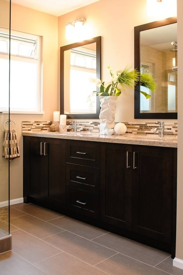 Apartment:Attractive Bathroom With Dark Cabinets 22 Astoundingark Photosesign Articles Gray Tile In Small Tag