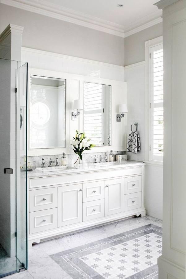 Gray tile floor with white vanity