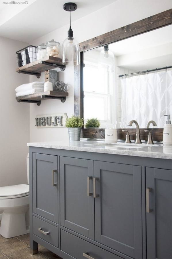 Gray bathroom vanity, tile ideas, walls, cabinets, and accessories