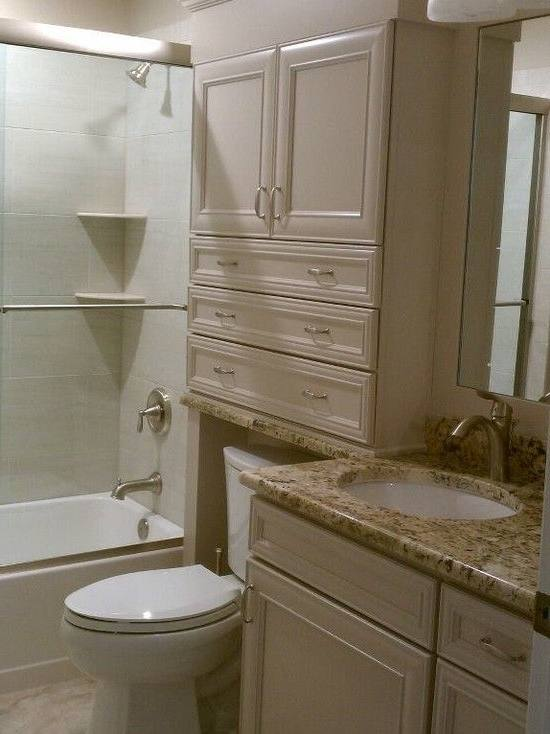 Bathroom above from a Portland remodel – a wet bath in a 3′ x 3′ space