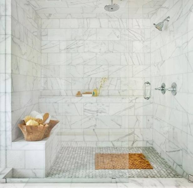 Luxury Bathroom Tub And Shower Ideas 24 White Bathtub Beige Tile Wall Connected By Glass Door