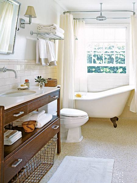 Cottage Bathroom Ideas With White Tub And Rustic Bowl Sink Beadboard