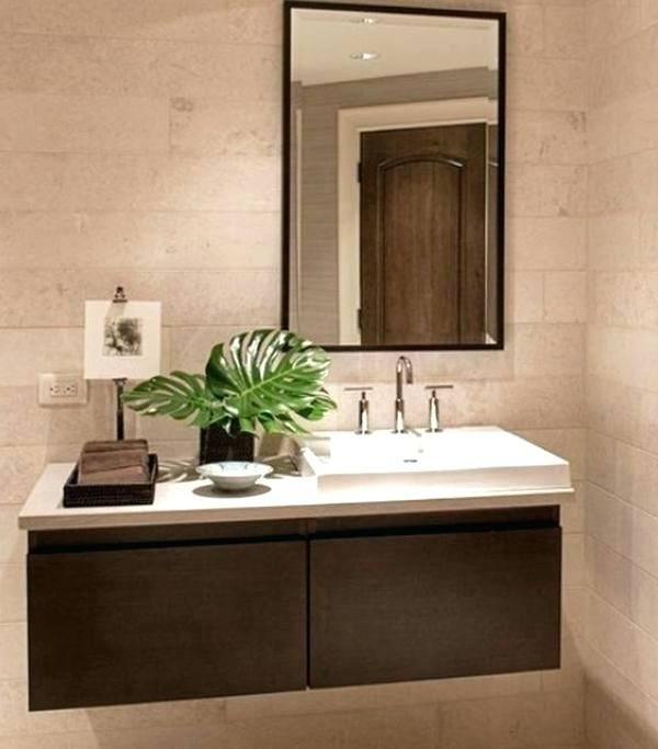 Farmhouse bathroom design with dark cabinets