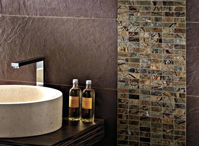Small bathroom with earth tone color scheme
