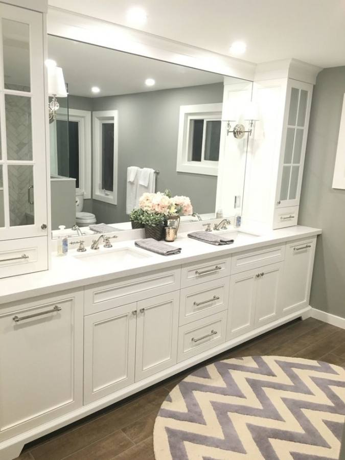 two vanities with separate bathrooms