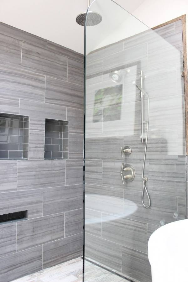 beautiful gray tile bathroom