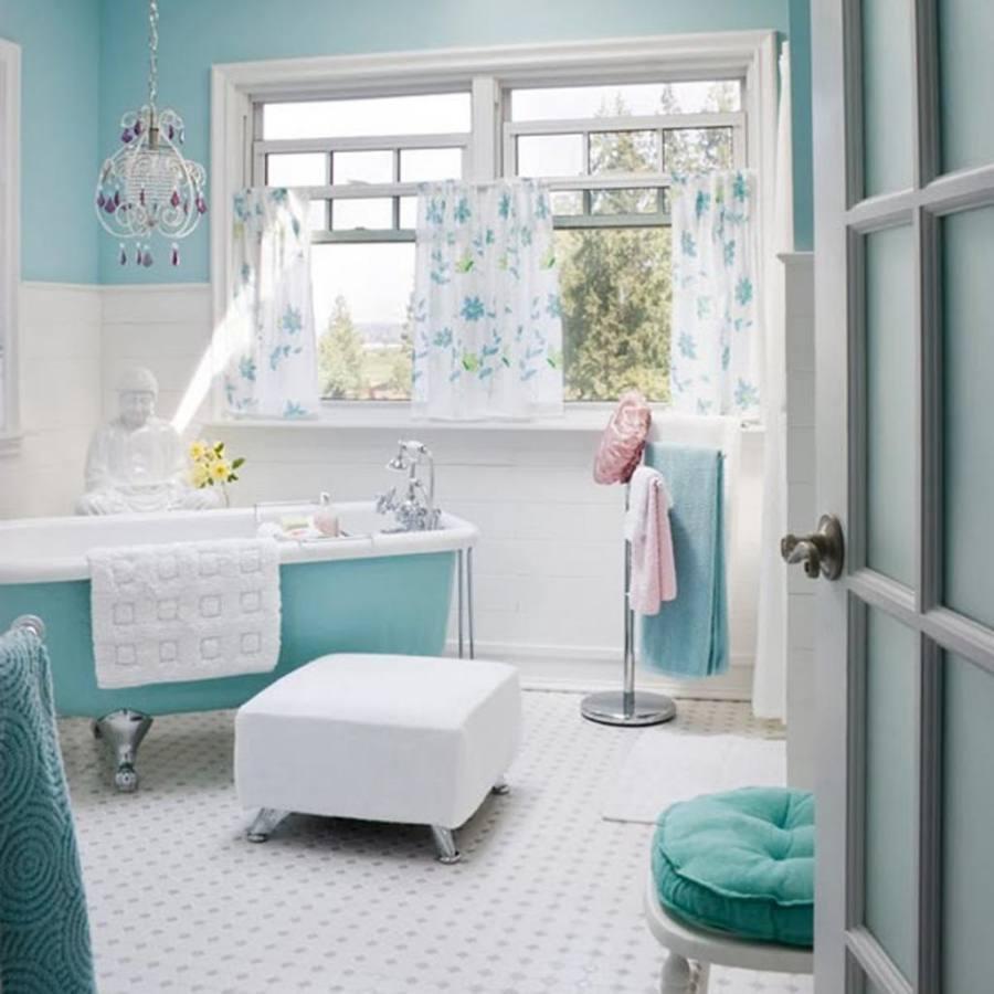 bathroom sconces, white and blue bathroom, beadboard bathroom, white