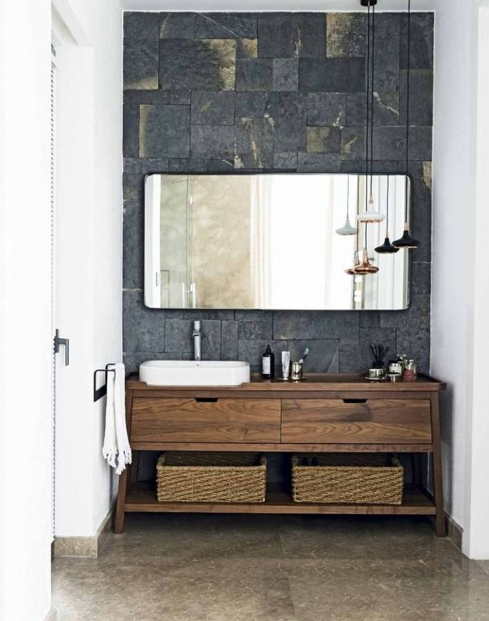 Gray Wall Paint Mirror With Dark Wooden Frame Real Wood Small Wash Custom Framed