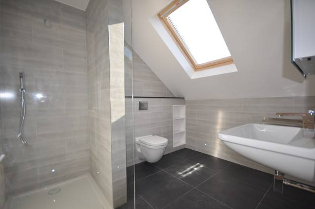 Spacious Bright Grey Loft Bathroom Decoration With Glass Shower Panel