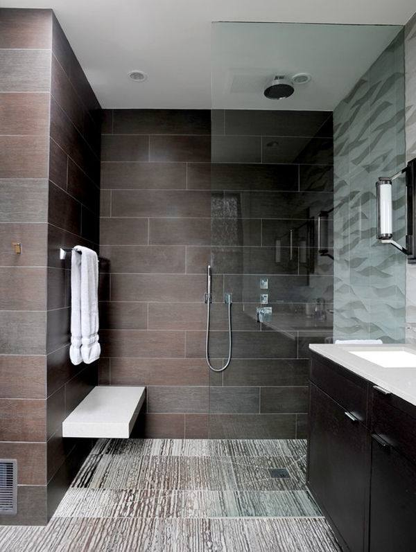 bathroom ideas photo gallery, minimalist style with light walls and floor, oval wall mirror Bathrooms Without Tiles – 50 Alternative Design Ideas