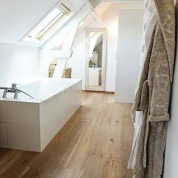 Attic Bathroom Ideas Sloped Ceiling Transparent Glass Shower Door Small Round Pivoted Mirror White Wooden Toiletries Cabinet With Windowed Doors Gray
