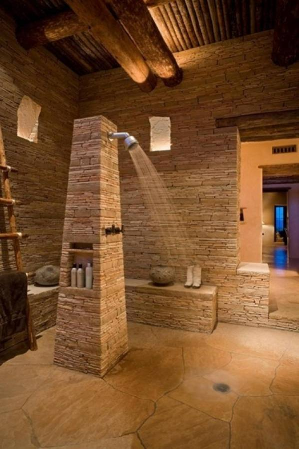 Restroom Ideas Stone Shower Bathroom Small Tile Best Natural Extremely Creative Design