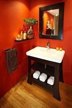 orange color decorating ideas - #bathroomdesign