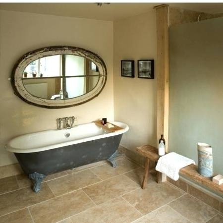 Wood vanity, marble countertop, round mirror, Kylie M INteriors edesign, online paint color consulting