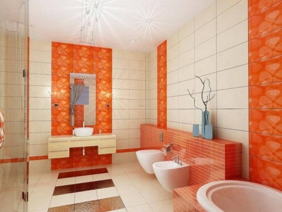 Bathroom Small Remodel Ideas On A Budget Brown Ceramic Tile Wall White Rectangular