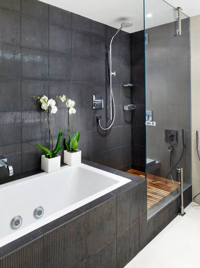 L Shaped Bathroom Tropical With Dark Wood Cabinetry Architects