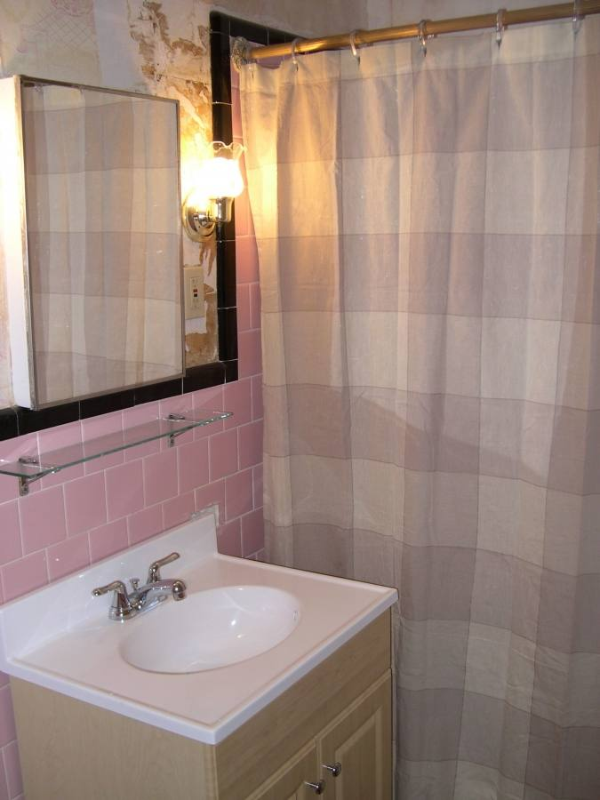 grey and pink bathroom accessories