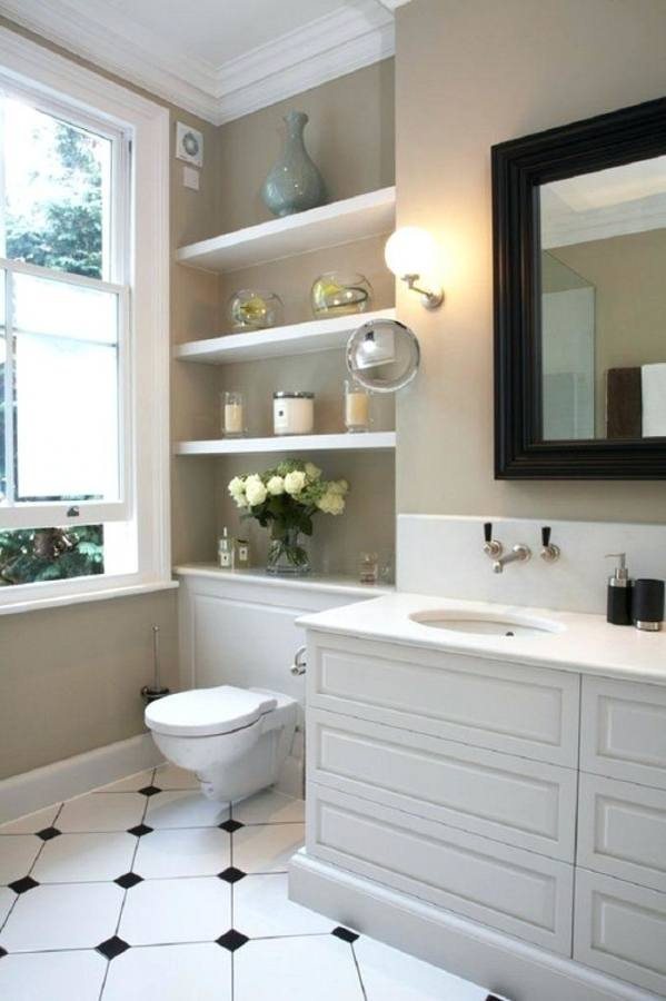 Interesing Small Bathroom With White Beadboard Wainscoting And Square Padestal Sink Along With Wide Vertical Rectangular Mirror