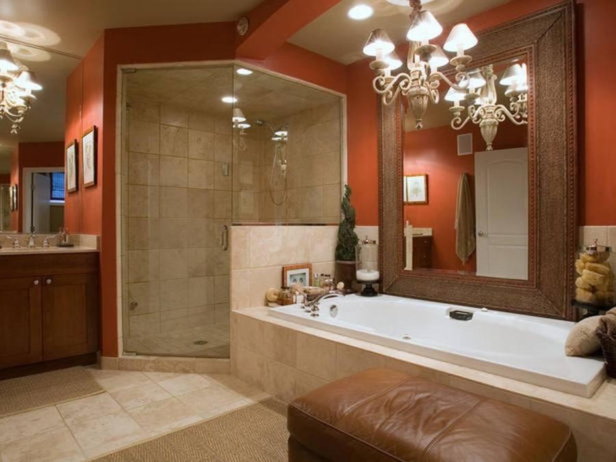 More bathroom feels fresh with orange - #bathroomdesign