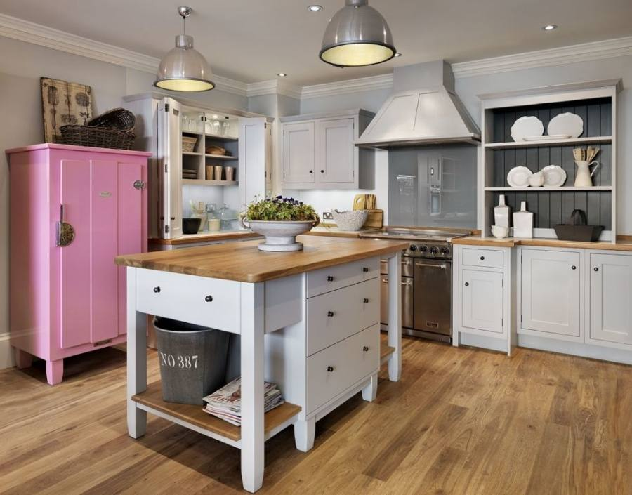 Carradale kitchen; Selby ceramic rise and fall ceiling pendant and Cecile bar chair, both from the Croft collection, John Lewis | kitchen design | Pinterest