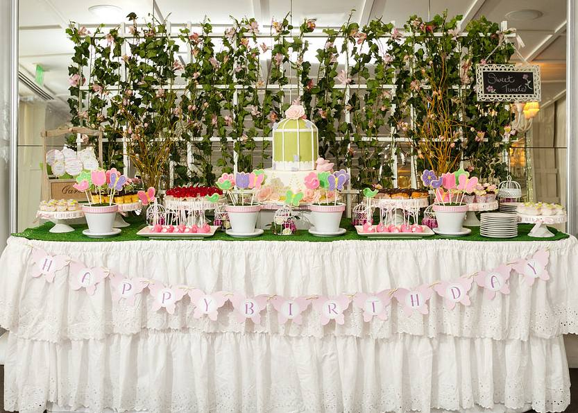 Sweet Table from a First Birthday Garden Party via Kara's Party Ideas | KarasPartyIdeas