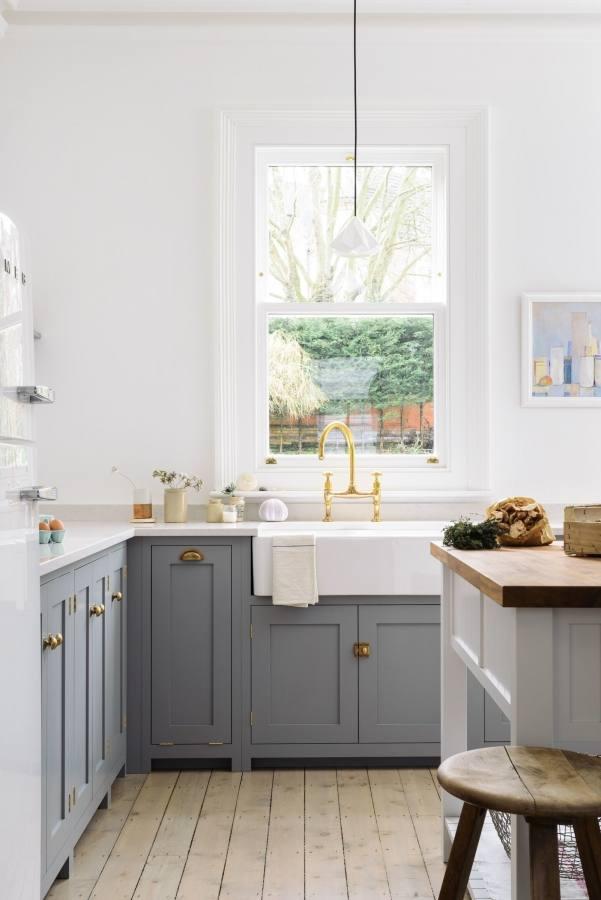 Grey and white open shelf kitchen