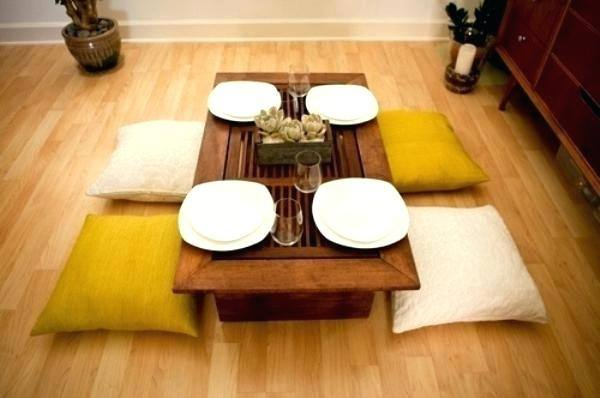 DIY low dining table and cushions, Japanese inspired