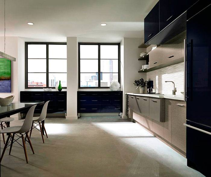 Modern Purple Color Design Acrylic Kitchen Cabinets With