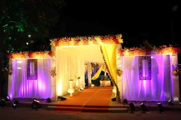 Wedding set up in garden, park