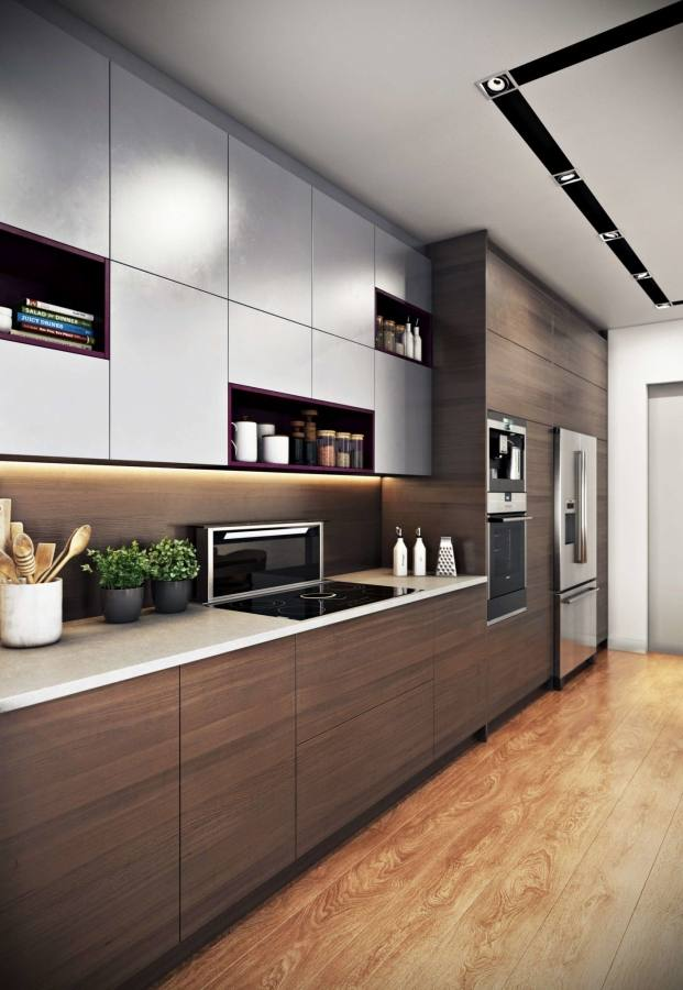 Awesome Modern Corner Model Kitchen Design With Unpainted Kitchen Cabinets Colors With Modern Oven Also Refrigerator In Cabinets Decor With Small Dinning