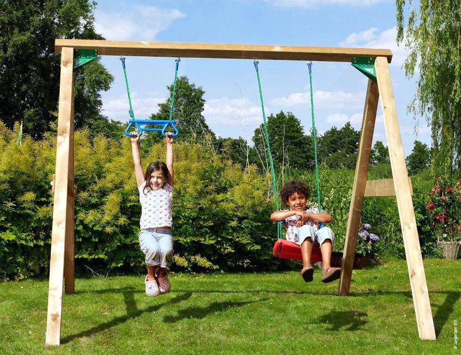 For the very adventurous, this playset includes wave slide, two swings, monkey bars and a mini climbing wall