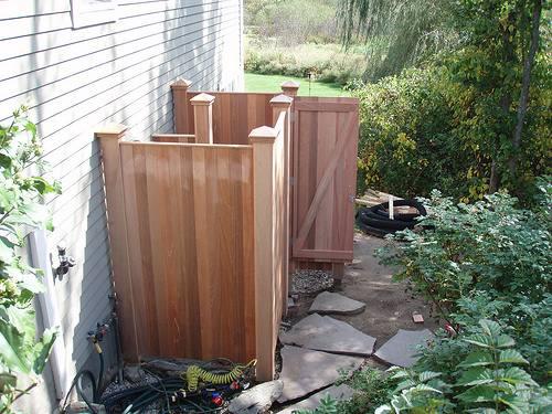 instant outdoor showers garden hose wood deck