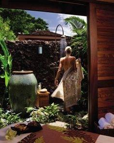Love this 'secret' outdoor garden shower