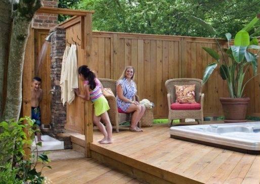 Charming Outdoor Garden And Backyard Shower Space Enclosure Design Ideas Of Style Home Design Property Exterior Design Ideas Outdoor Showers And Tubs Hgtv