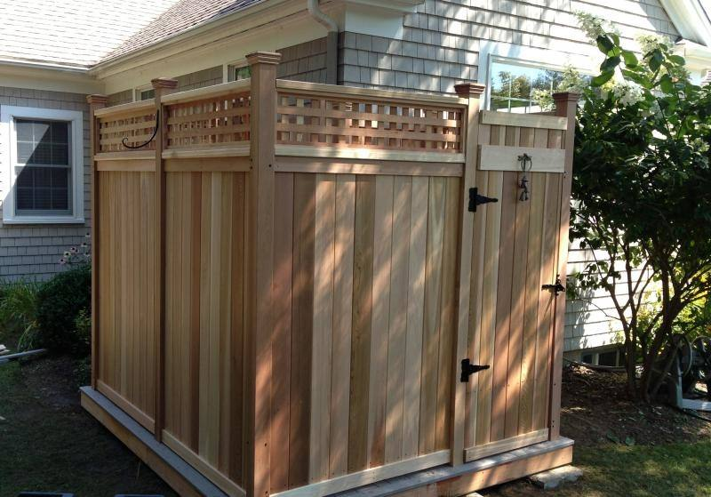 outdoor shower plans wooden wood enclosure kit cedar showers kits company deluxe long cape cod