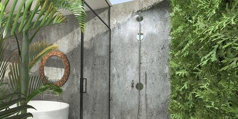 This outdoor shower in a modern Icelandic home designed by Minarc