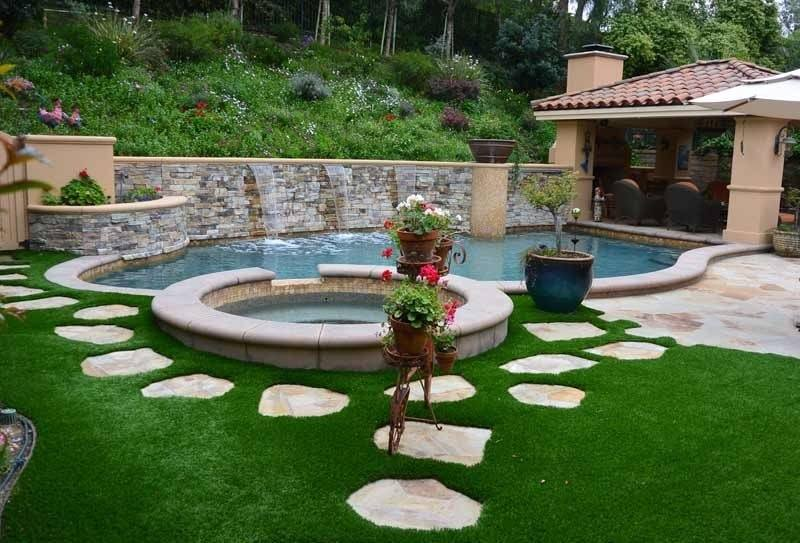 Outdoor Living Spaces! The backyard living space of a two story single family home in Southern California
