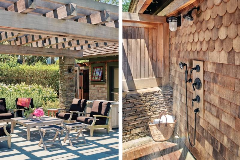 Cool Outdoor Shower Rustic Bamboo Ceiling Bronze Head Shower Stone