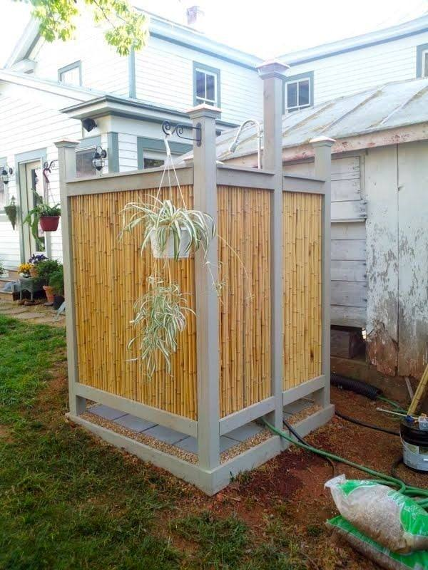 bamboo outdoor shower enclosure themed bathroom