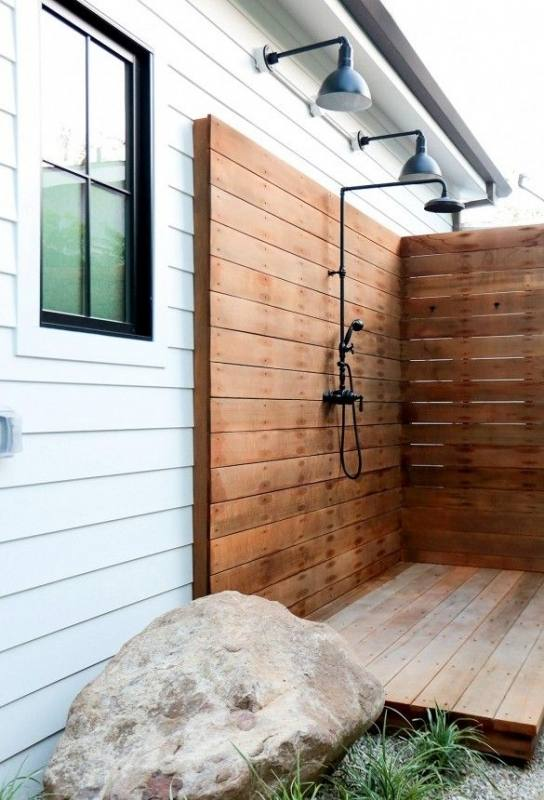 Outdoor shower garden and landscaping design