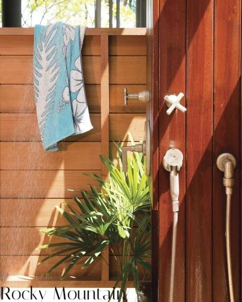 Cascade is an elegant free standing outdoor shower design that looks simple and amazing at the same time, offering practical and beautiful ideas for modern