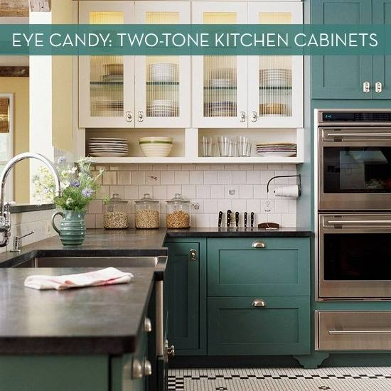 two tone cabinets with island kitchen