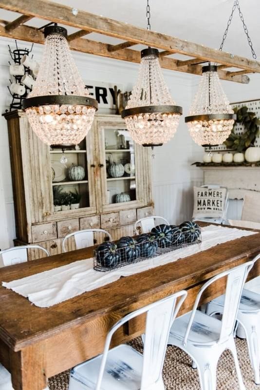 Linear chandelier | lighting | Pinterest | Farmhouse interior, Dining room lighting and Dining room