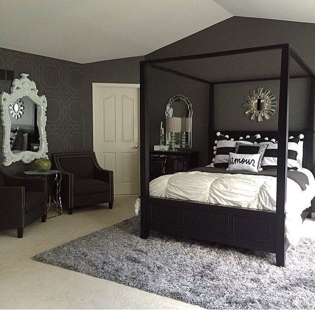 Pair the rug with a matching black bed frame
