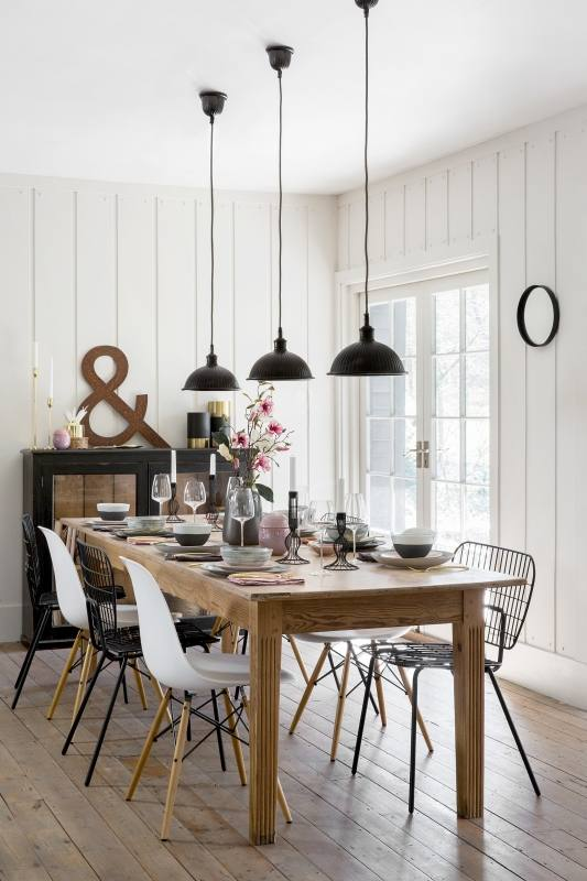 Some of the best decorating ideas for small dining rooms are bold pieces,  like this beautiful chandelier