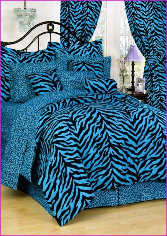 Animal Comforter Sets Zebra 5 Piece Bed Sets With Reversible Comforter In  Blue Leopard Spots Super Soft And Comfortable Microfiber Comforter Set With  Cotton