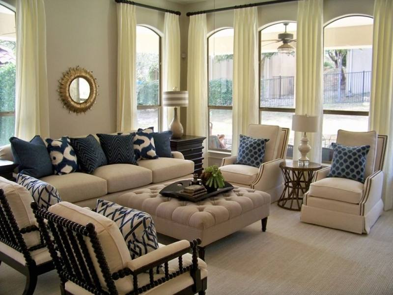 modern beige gray living room interior design with large light sofa and  white curtains bedroom ideas
