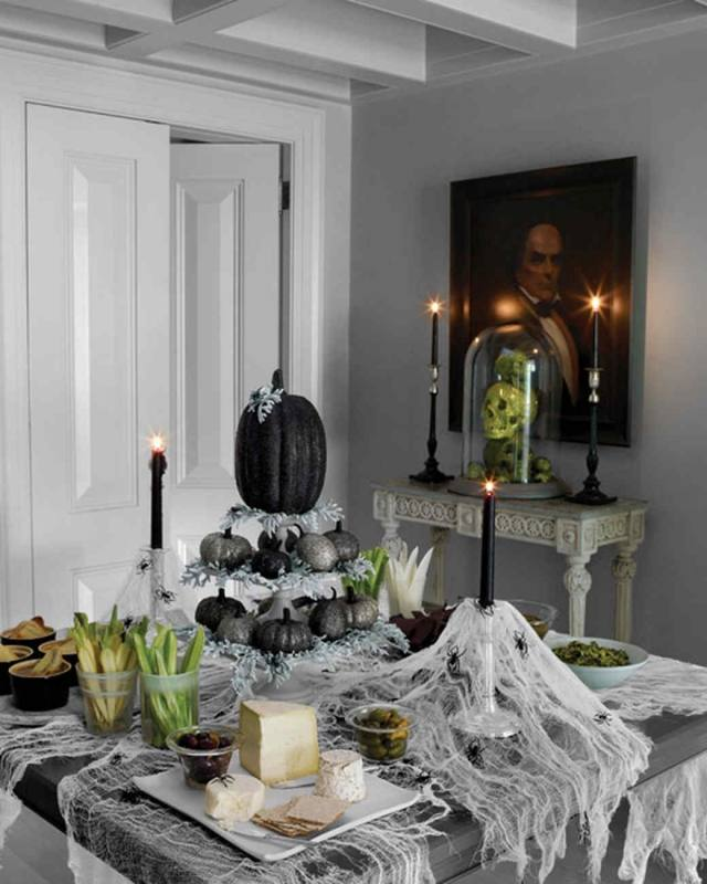 Dining room decorated for Halloween