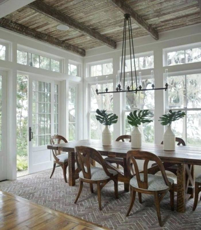 Corner sunroom as dining room off of kitchen | by Lindal Cedar Homes
