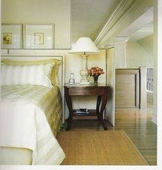 Neutral bedroom design, cream with black and brass accents